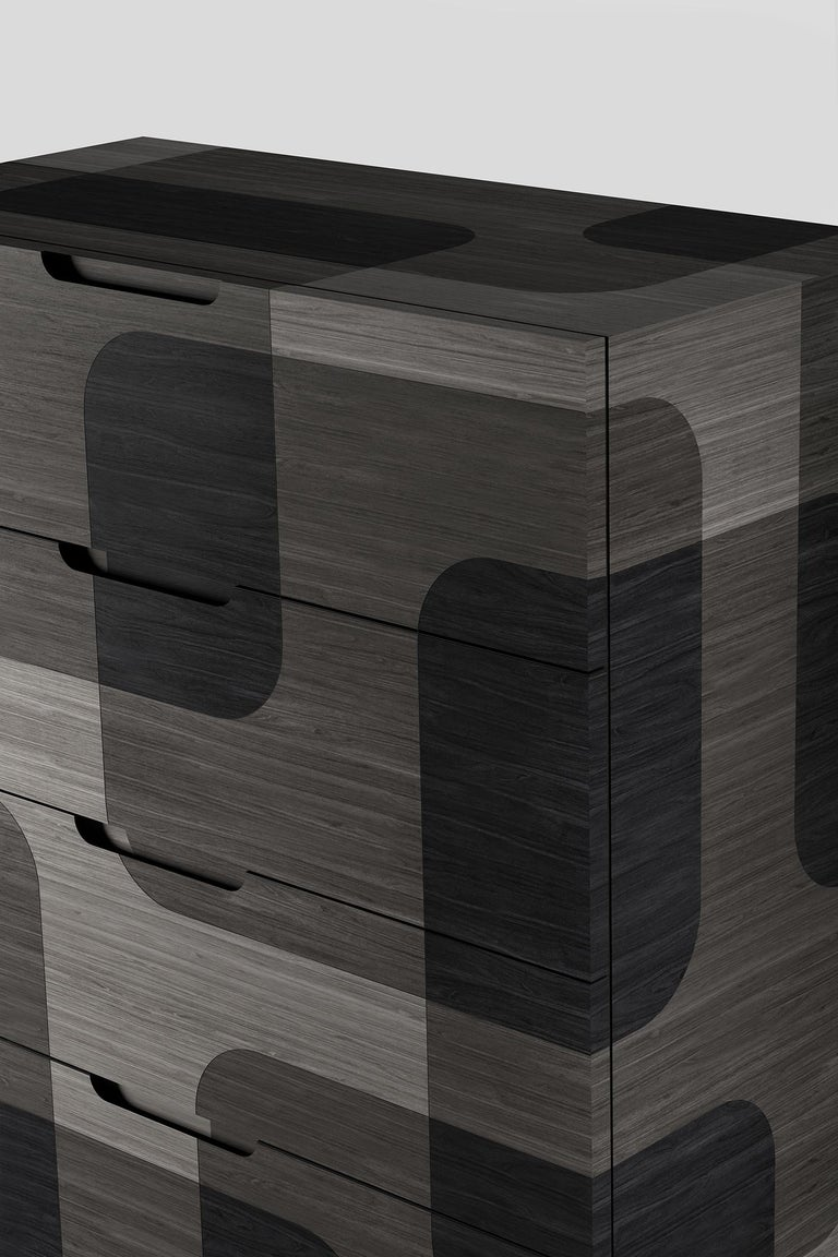 Grey Patterned Wood Dresser from Bodega Collection by Joel Escalona For Sale 2