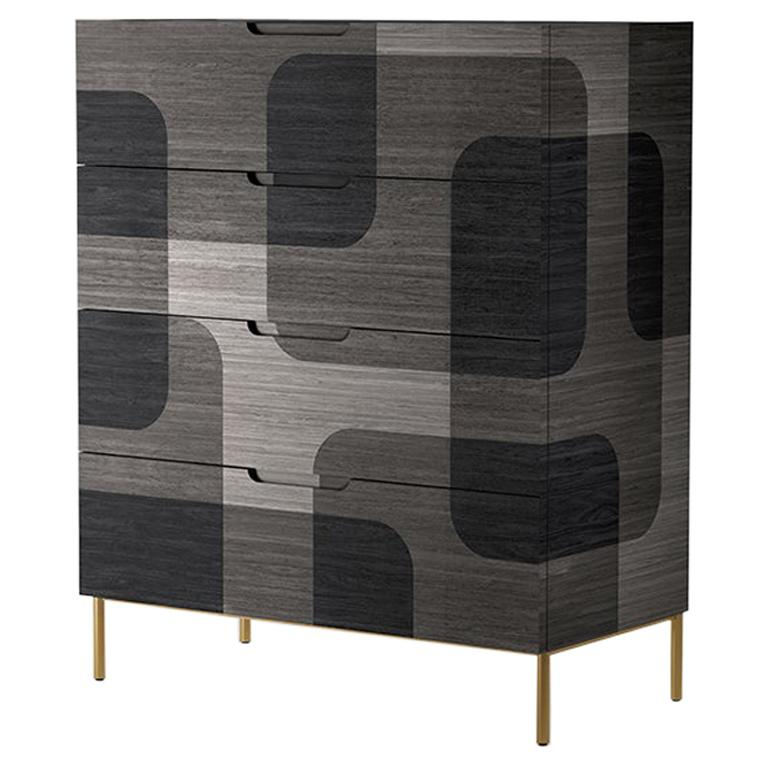 Grey Patterned Wood Dresser from Bodega Collection by Joel Escalona For Sale