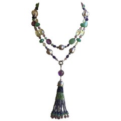 Grey Pearl and Multi-Color Stone Necklace and Tassel with 14 Karat White Gold
