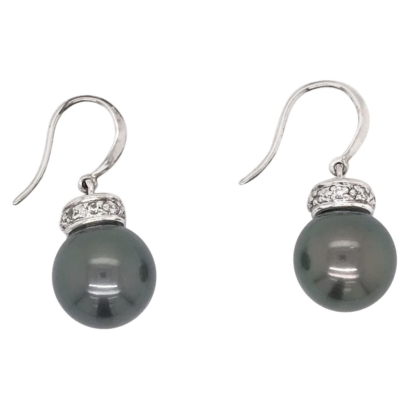 Grey Pearl Dangle Earrings 18 Karat White Gold