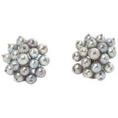 Grey Pearl Earrings, 750 White Gold