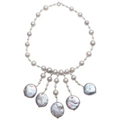 Grey Pearl Necklace with Five-Coin Pearl Drops and Diamond Cut Silver Beads
