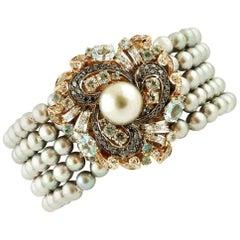 Grey Pearls,Black and White Diamonds,Aquamarine, 14 Kt Rose Gold Beaded Bracelet