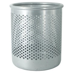Grey Perforated Metal Office Wastebasket Trash Can Italy Memphis Sottsass