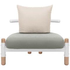 Grey PK15 Single Seat Sofa, Carbon Steel Structure & Wood Legs by Paulo Kobylka