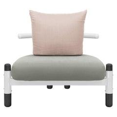 Grey PK15 Single Seat Sofa, Steel Structure and Ebonized Legs by Paulo Kobylka