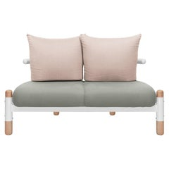 Grey PK15 Two-Seat Sofa, Carbon Steel Structure and Wood Legs by Paulo Kobylka