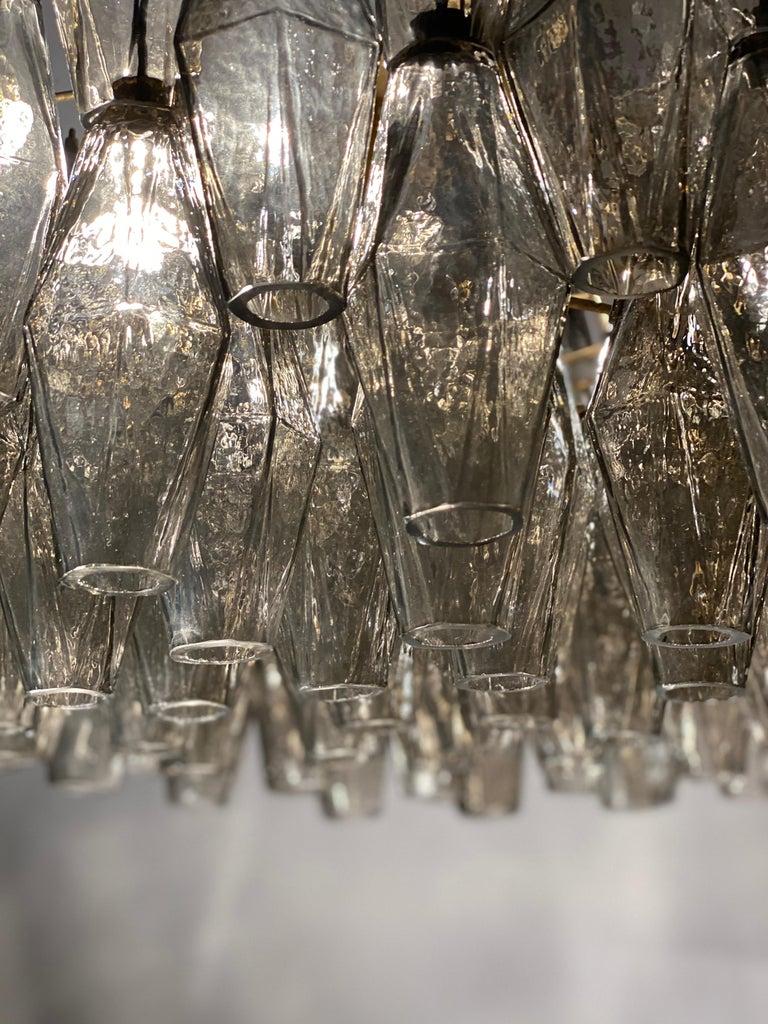 Grey Poliedri Murano Glass Chandeliers Carlo Scarpa Style For Sale 5