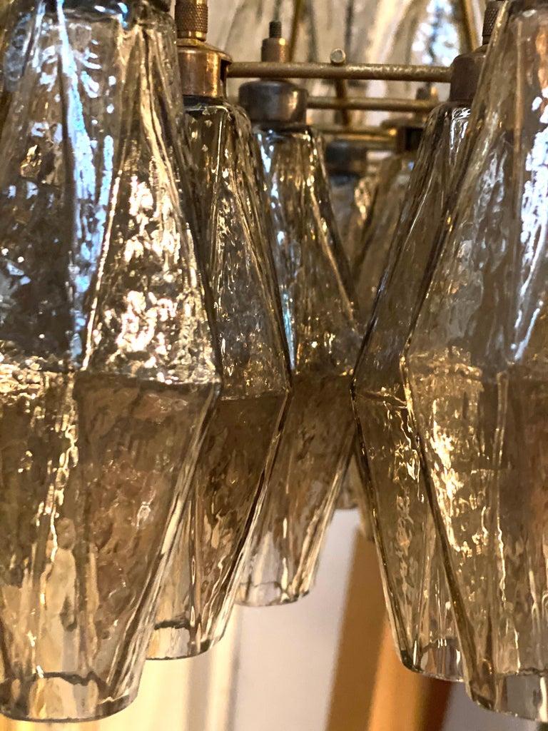 Grey Poliedri Murano Glass Chandeliers Carlo Scarpa Style For Sale 7