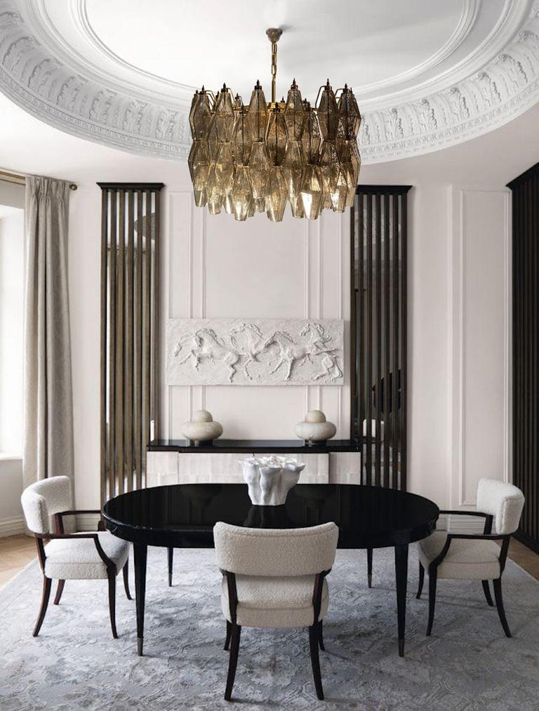 Mid-Century Modern Grey Poliedri Murano Glass Chandeliers Carlo Scarpa Style For Sale