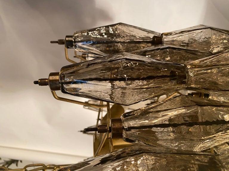 20th Century Grey Poliedri Murano Glass Chandeliers Carlo Scarpa Style For Sale