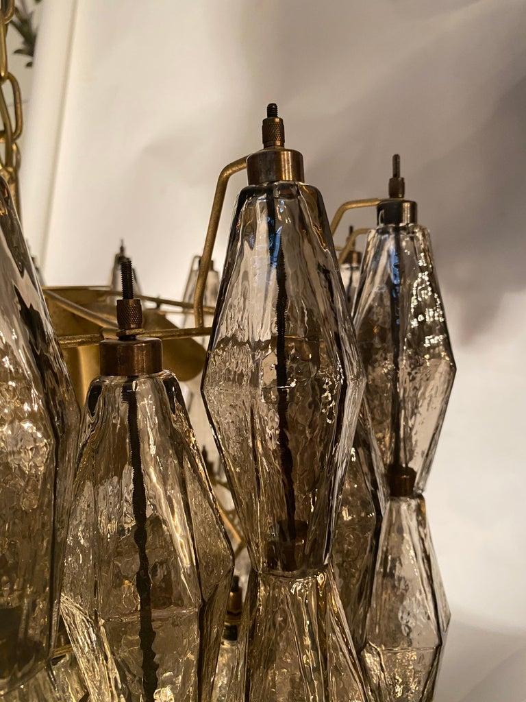 Grey Poliedri Murano Glass Chandeliers Carlo Scarpa Style For Sale 2