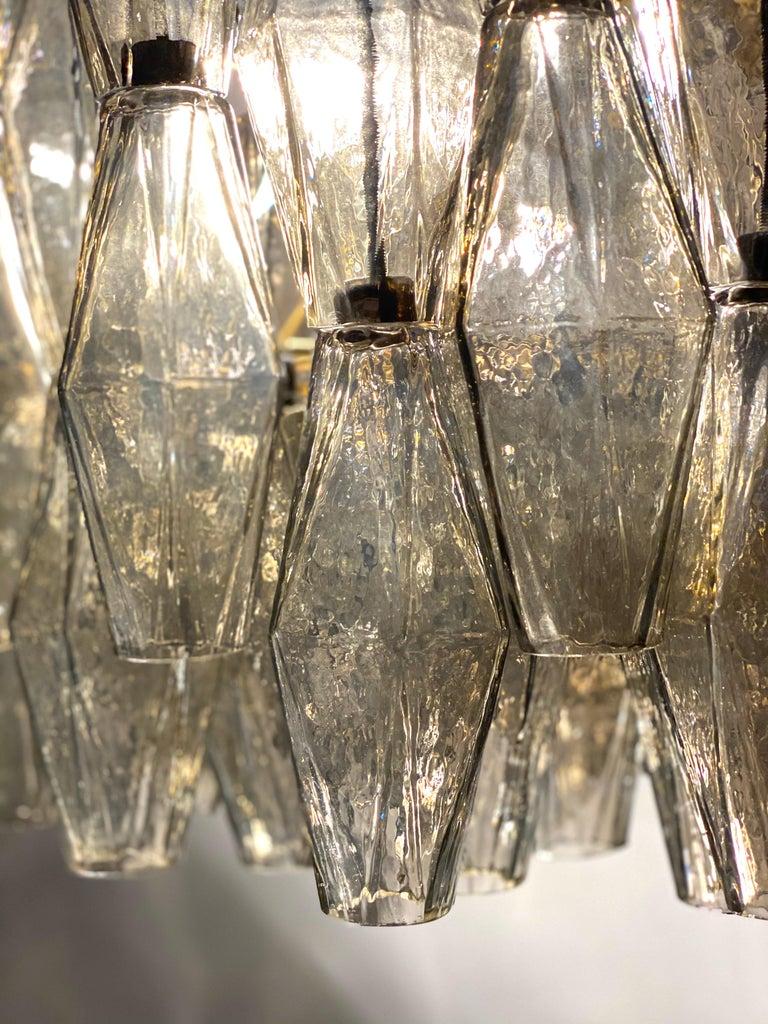 Grey Poliedri Murano Glass Chandeliers Carlo Scarpa Style For Sale 3