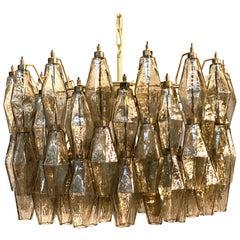 Grey Poliedri Murano Glass Chandeliers Carlo Scarpa Style