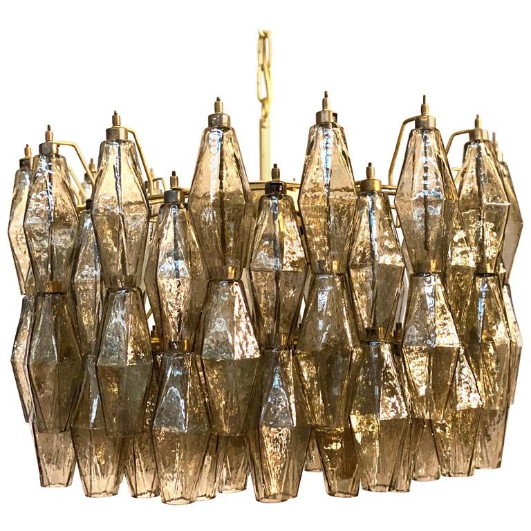 Grey Poliedri Murano Glass Chandeliers Carlo Scarpa Style For Sale