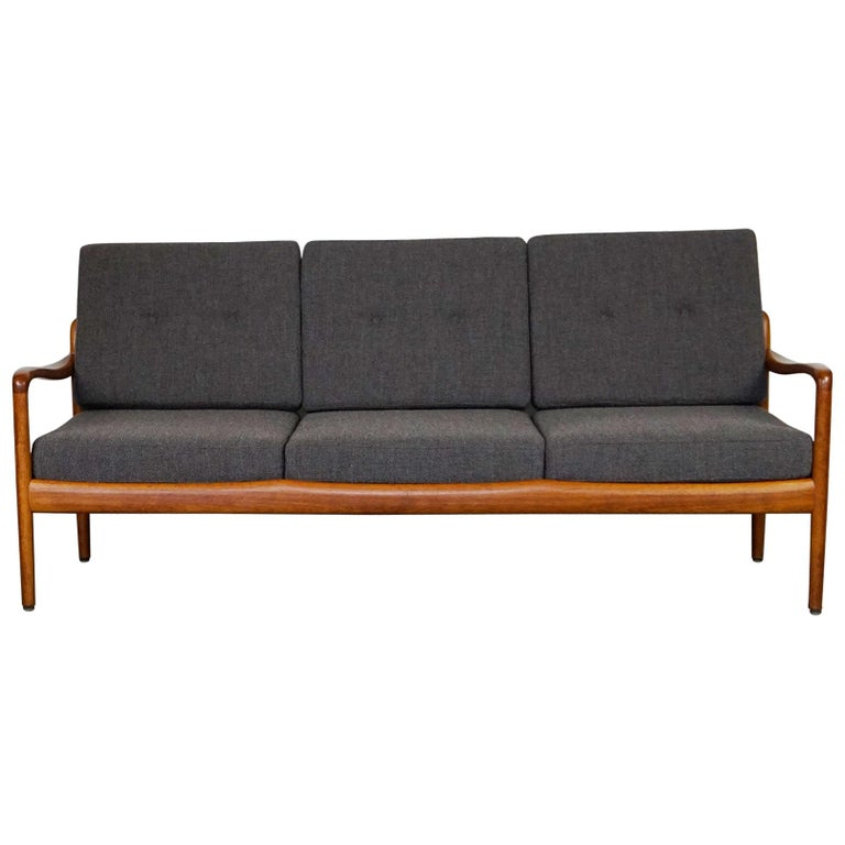 Grey Scandinavian Modern Teak Three-Seat Sofa by Knoll Antimott For Sale