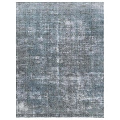 Grey Shabby Chic Old Persian Tabriz Design Oriental Rug