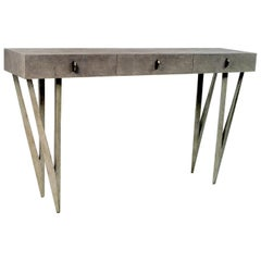 Grey Shagreen Console Table Reef with Old Silver Patina Legs by Ginger Brown