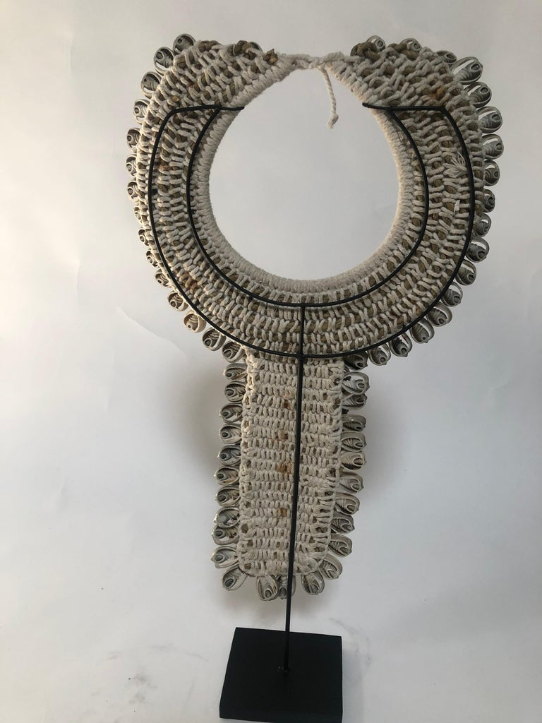 Asian Grey Shell Necklace on Stand For Sale