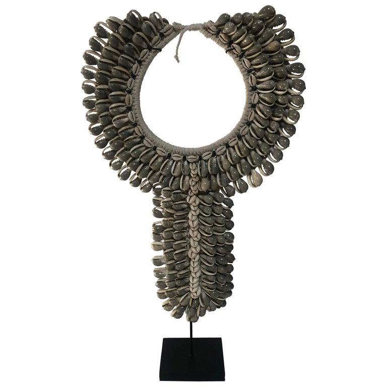 Grey Shell Necklace on Stand For Sale