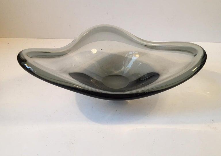 Mid-Century Modern Grey Smoke Glass Bowl by Per Lütken for Holmegaard, Denmark, 1960s For Sale