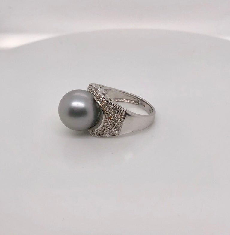 18K White Gold South Sea Pearl Cocktail Ring with Pave Diamonds,. Ring Size 6.5.  Previously adored and in mint condition.   Stamped 18K and 750