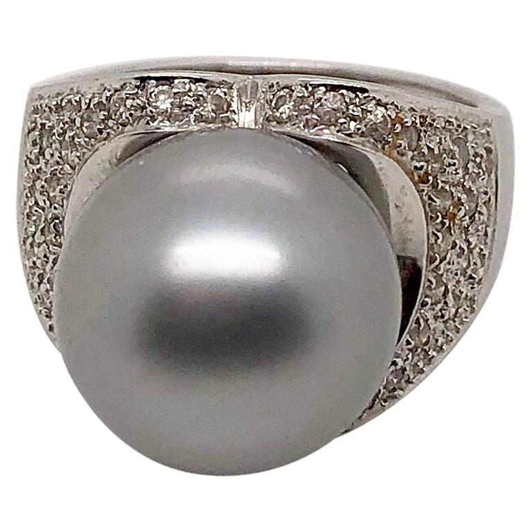 Grey South Sea Pearl and White Gold Ring with Diamonds For Sale