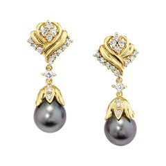 11.25mm Silver South Sea Pearl and Diamond 18k Yellow Gold Dangle Drop Earrings
