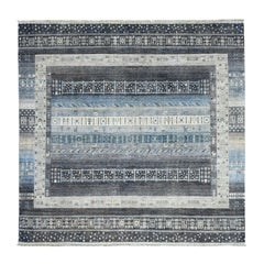 Grey Square Pure Wool Kashkuli Gabbeh Pictorial Hand Knotted Oriental Rug
