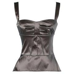 Grey stretch satin tank top Dolce & Gabbana