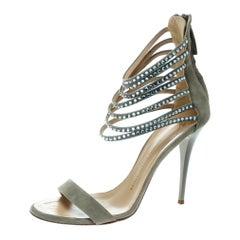 Grey Suede Crystal Embellished Ankle Strap Open Toe Sandals Size 40
