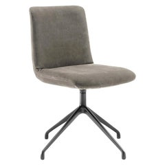 Grey Suede Dining Chair, by Claudio Bellini, Made in Italy