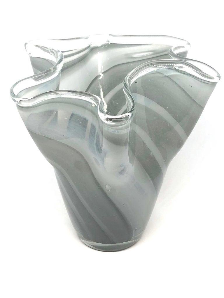 Mid-Century Modern Grey Swirl Glass Murano Venetian Glass Vase by Fazzoletto