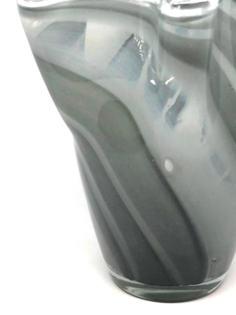 Italian Grey Swirl Glass Murano Venetian Glass Vase by Fazzoletto
