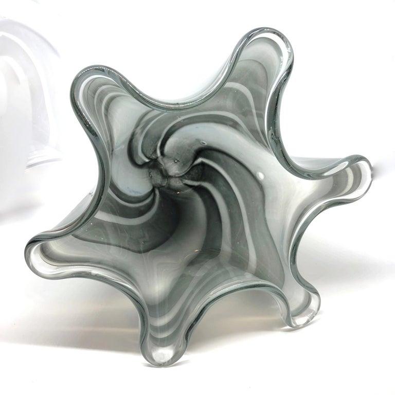 Murano Glass Grey Swirl Glass Murano Venetian Glass Vase by Fazzoletto