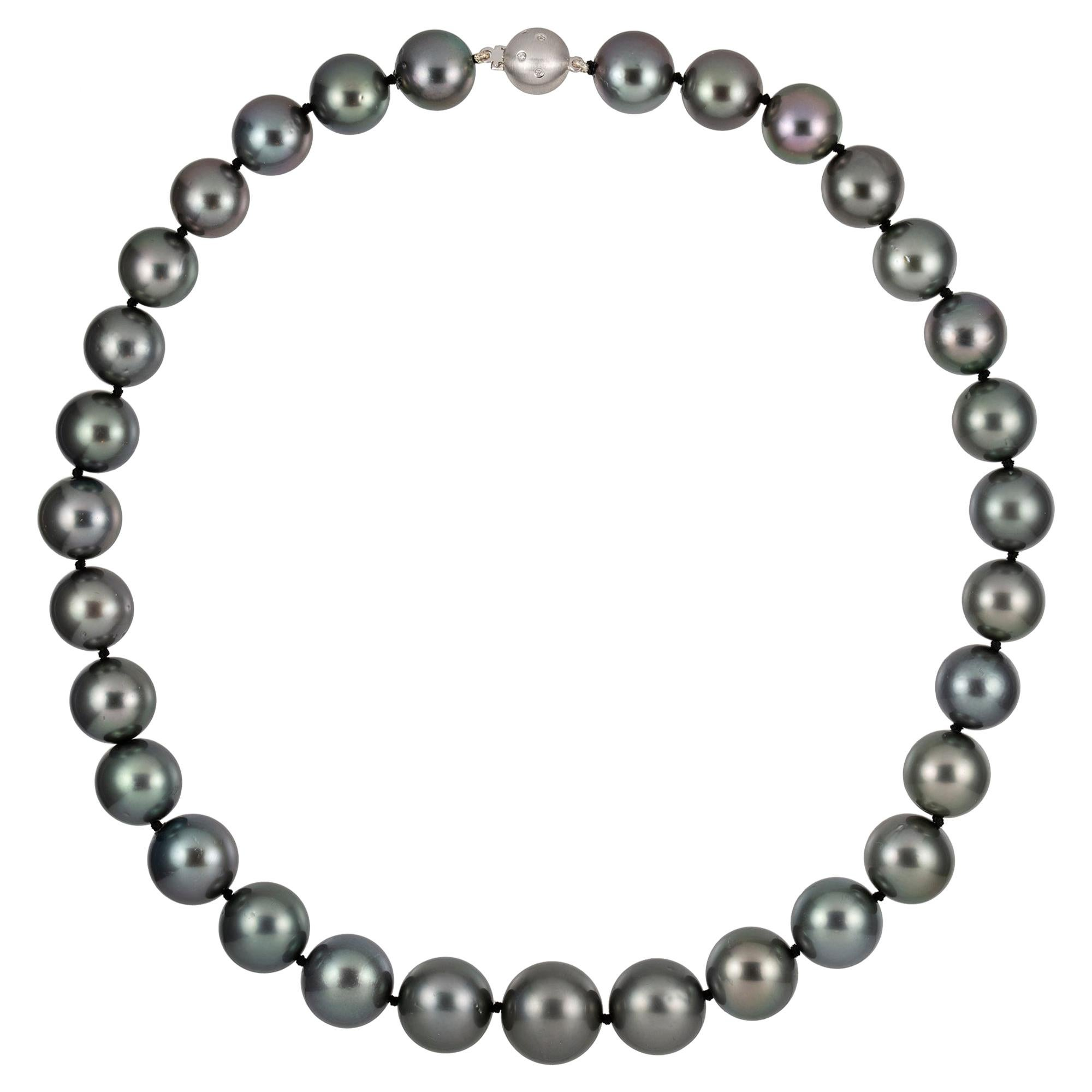 Grey Tahitian Graduated Cultured Pearl Necklace