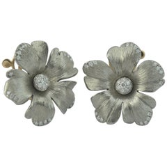 Titanium Diamond Gold  Earrings Flower Handcrafted by Margherita Burgener, Italy