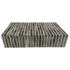 Grey Tubular Design Bone Lidded Box, Indonesian, Contemporary