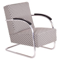 Grey Tubular Steel Cantilever Armchairs, Chrome, New Upholstery by Backhausen
