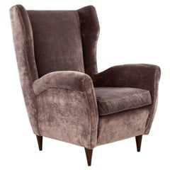 Grey Velvet Italian Armchair in the Style of Gio Ponti