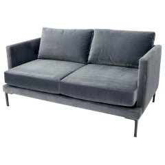 Grey Velvet Upholstery Small Sofa Loveseat