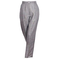 Chanel Boutique Grey Linen Straight-Leg Pants