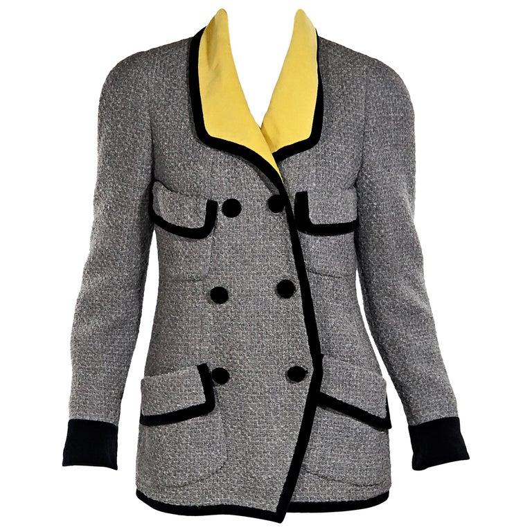 Grey Vintage Chanel Tweed Jacket For Sale