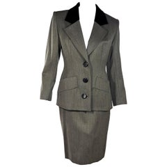 Grey Vintage Givenchy Wool Skirt Suit Set