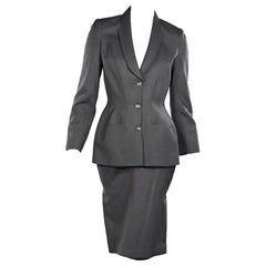 Grey Vintage Thierry Mugler Wool Skirt Suit Set