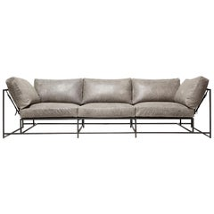 Grey Waxed Leather Sofa with Charcoal Powdercoat