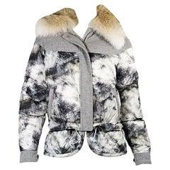 Grey & White Belstaff Fur-Trimmed Puffer Coat