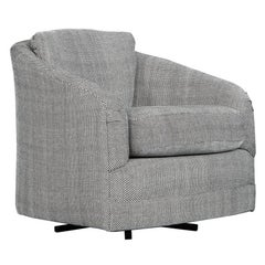 Grey White Patterned Swivel Lounge Chair Attributed to Milo Baughman