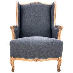 Grey Wingback Louis Phillipe Style Armchair, France, 1920