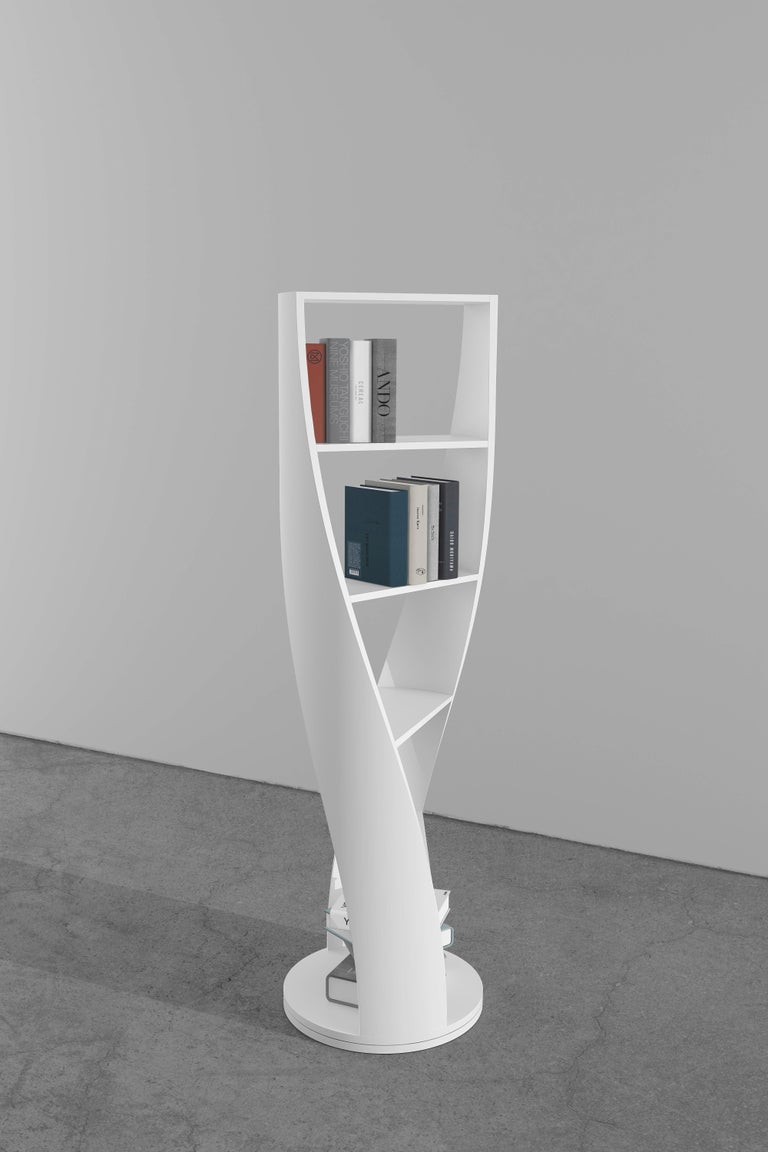 Contemporary Grey Wood Bookcase and Storage System Mini MYDNA Collection by Joel Escalona For Sale